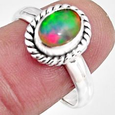 2.03cts natural ethiopian opal 925 sterling silver solitaire ring size 8 p92086