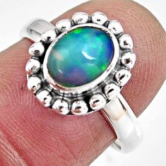 2.14cts natural ethiopian opal 925 sterling silver solitaire ring size 7 p92105