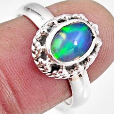 2.35cts natural ethiopian opal 925 sterling silver solitaire ring size 7 p92109