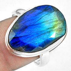 16.46cts natural faceted labradorite 925 silver solitaire ring size 9 p68146