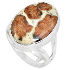 Natural garnet in limestone spessartine 925 silver solitaire ring size 6 p61486