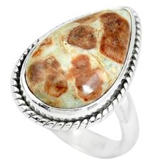 Natural garnet in limestone spessartine 925 silver solitaire ring size 8 p61499