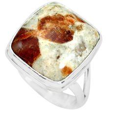 Natural garnet in limestone spessartine 925 silver solitaire ring size 8 p61515