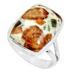 Natural garnet in limestone spessartine 925 silver solitaire ring size 9 p61516