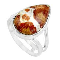 Natural garnet in limestone spessartine silver solitaire ring size 8.5 p61517