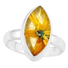 6.39cts natural golden half star rutile 925 silver solitaire ring size 7 p76001