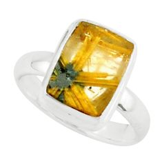 5.82cts natural golden half star rutile 925 silver solitaire ring size 7 p76003