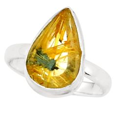 5.96cts natural golden half star rutile 925 silver solitaire ring size 8 p76006