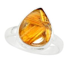 5.11cts natural golden half star rutile 925 silver solitaire ring size 7 p76013