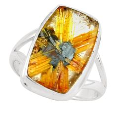 7.04cts natural golden half star rutile 925 silver solitaire ring size 7 p76016