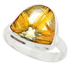 6.36cts natural golden half star rutile 925 silver solitaire ring size 9 p76019