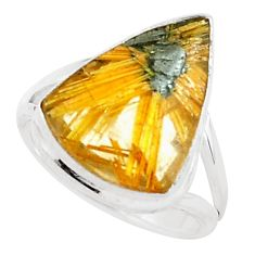 9.47cts natural golden half star rutile 925 sterling silver ring size 6.5 p76033