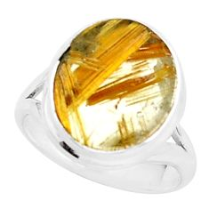 6.57cts natural golden half star rutile 925 sterling silver ring size 6 p76035