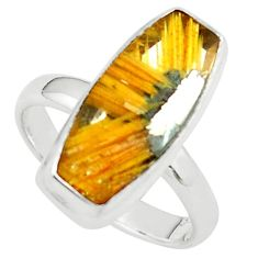 7.36cts natural golden half star rutile 925 sterling silver ring size 7 p76038