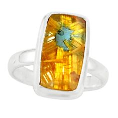 6.36cts natural golden half star rutile silver solitaire ring size 6.5 p76008