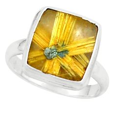 6.53cts natural golden half star rutile silver solitaire ring size 8.5 p76014