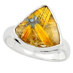 6.10cts natural golden half star rutile silver solitaire ring size 7.5 p76017