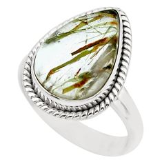 8.94cts natural golden rutile 925 silver solitaire ring jewelry size 7.5 p62820