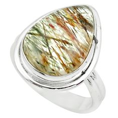 12.07cts natural golden rutile 925 silver solitaire ring jewelry size 8 p62836