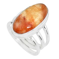 9.73cts natural golden rutile 925 silver solitaire ring jewelry size 7.5 p65603