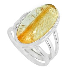 10.33cts natural golden rutile 925 silver solitaire ring jewelry size 8 p65607