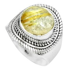 6.54cts natural golden rutile 925 silver solitaire ring jewelry size 8.5 p70303