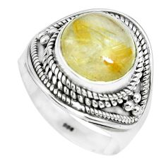 5.42cts natural golden rutile 925 silver solitaire ring jewelry size 8 p70313