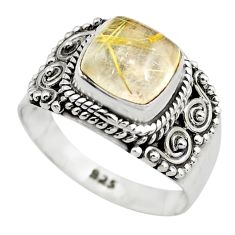 3.42cts natural golden rutile 925 silver solitaire ring jewelry size 7.5 p71773