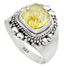 3.26cts natural golden rutile 925 silver solitaire ring jewelry size 8 p71879