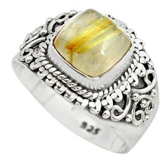 3.35cts natural golden rutile 925 sterling silver solitaire ring size 7 p71774