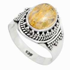 4.22cts natural golden rutile 925 sterling silver solitaire ring size 7.5 p71775