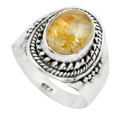 4.22cts natural golden rutile 925 sterling silver solitaire ring size 7.5 p71778