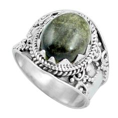 Natural golden sheen black obsidian silver solitaire ring size 7.5 d32037