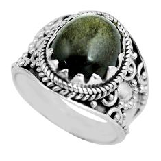 5.07cts natural golden sheen black obsidian silver solitaire ring size 7 d32122