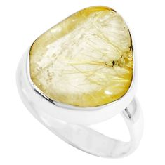 Natural golden tourmaline rutile 925 silver solitaire ring size 9 p44368