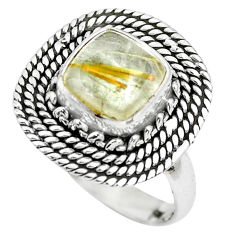 3.21cts natural golden tourmaline rutile 925 silver solitaire ring size 7 p63160