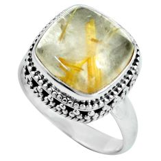7.58cts natural golden tourmaline rutile 925 silver solitaire ring size 8 p67570