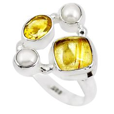 7.66cts natural golden tourmaline rutile citrine 925 silver ring size 8.5 p52490