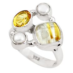7.84cts natural golden tourmaline rutile citrine 925 silver ring size 8.5 p52494