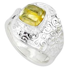 3.02cts natural golden tourmaline rutile silver adjustable ring size 9.5 p57177