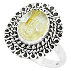 4.15cts natural golden tourmaline rutile silver solitaire ring size 8.5 p63155
