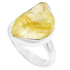 Natural golden tourmaline rutile tourmaline rough 925 silver ring size 7 p44391