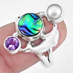 Natural green abalone paua seashell 925 silver dolphin ring size 9 p42855