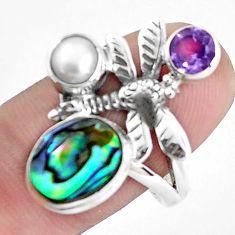 Natural green abalone paua seashell 925 silver dragonfly ring size 9 p42851
