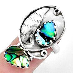 6.92cts natural green abalone paua seashell 925 silver ring size 7 p42398
