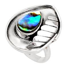 Natural green abalone paua seashell 925 silver solitaire ring size 8.5 p49615