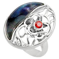 4.69cts natural green abalone paua seashell garnet 925 silver ring size 6 c4049