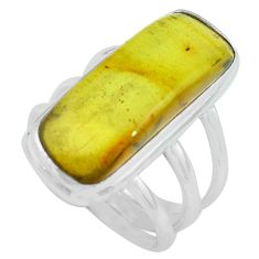 9.14cts natural green amber from colombia silver solitaire ring size 7.5 p68369