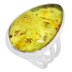 14.08cts natural green amber from colombia silver solitaire ring size 8 p68379