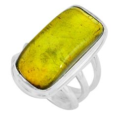 13.07cts natural green amber from colombia silver solitaire ring size 7 p68380